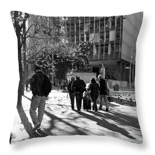 Black And White Throw Pillow featuring the photograph Downtownscape - Black And White by Suzanne Gaff