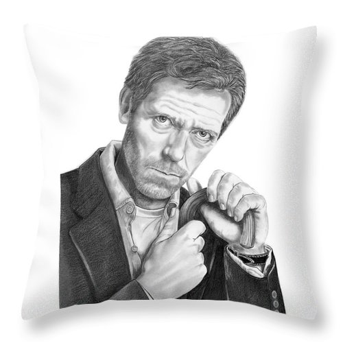 Drawing Throw Pillow featuring the drawing Dr. House Hugh Laurie by Murphy Elliott