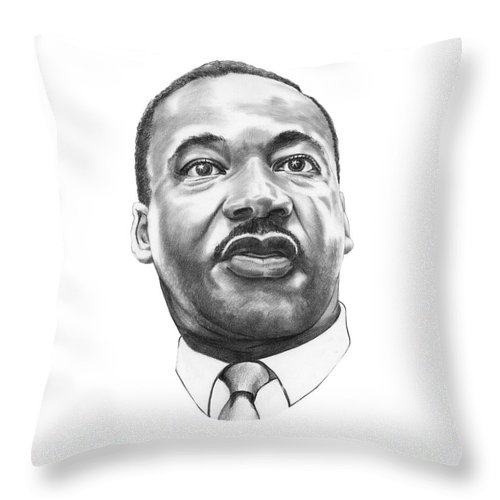 Portrait Throw Pillow featuring the drawing Dr. Martin Luther King by Murphy Elliott