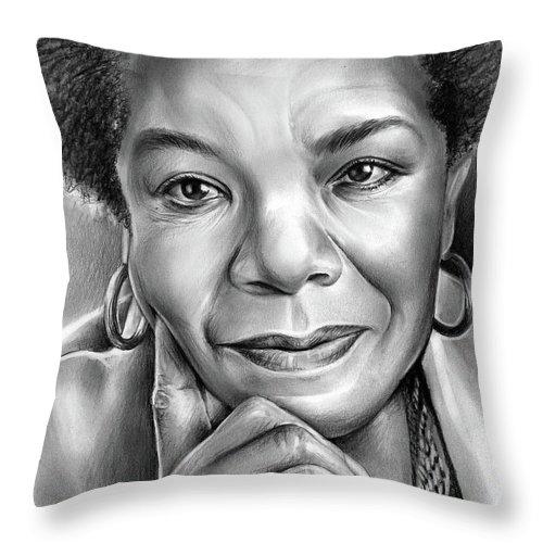 Maya Angelou Throw Pillow featuring the drawing Dr Maya Angelou by Greg Joens