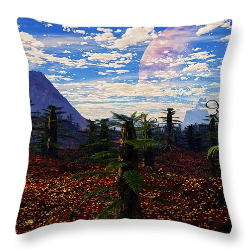 Terragen Throw Pillow featuring the digital art Draco by Napo Bonaparte
