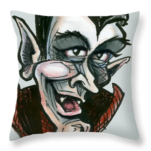 Dracula Throw Pillow featuring the greeting card Dracula by Kevin Middleton