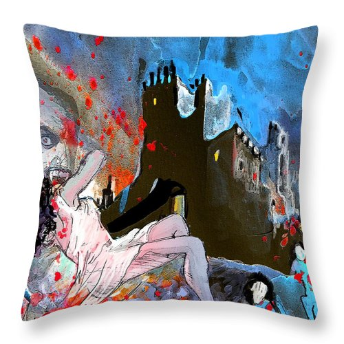 Dracula Throw Pillow featuring the painting Dracula by Miki De Goodaboom