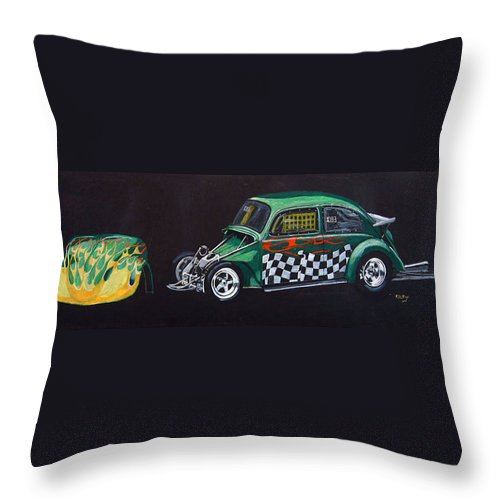 Vw Throw Pillow featuring the painting Drag Racing Vw by Richard Le Page