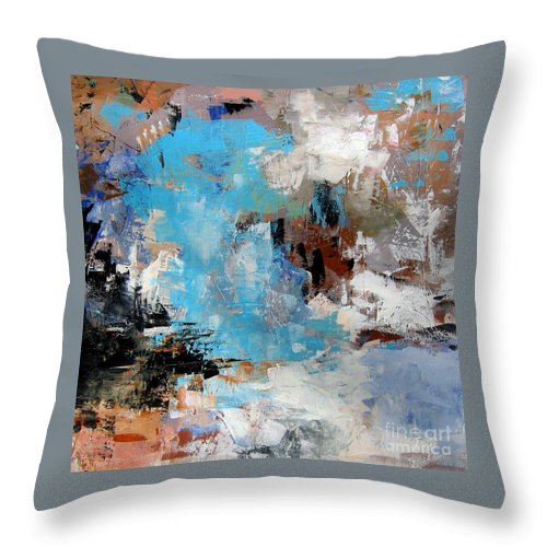 Abstract Throw Pillow featuring the painting Dragon Bleu by Diane Desrochers