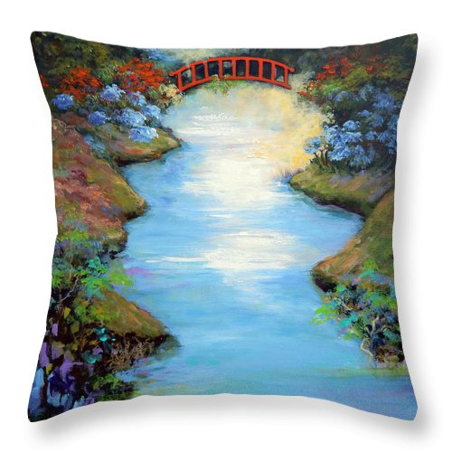 Streams Throw Pillow featuring the painting Dragon Bridge by Caroline Patrick