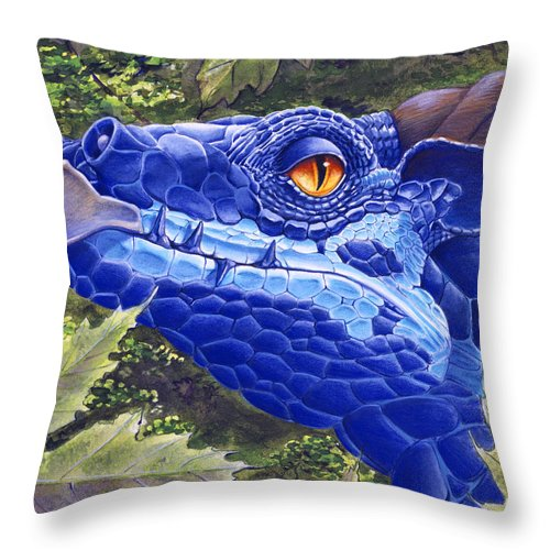Dragon Throw Pillow featuring the painting Dragon Eyes by Melissa A Benson
