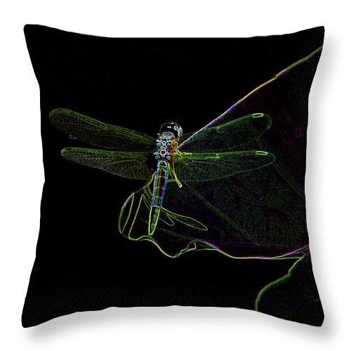 Dragonfly Throw Pillow featuring the digital art Dragon Fly by Farah Faizal