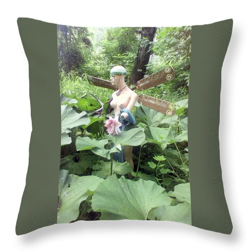 Found Object Sculpture Throw Pillow featuring the photograph Dragon Fly Queen by Jon-Erik Kroon