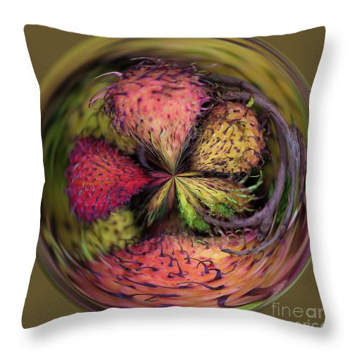 Battambang Throw Pillow featuring the digital art Dragon Fruit by George Cathcart