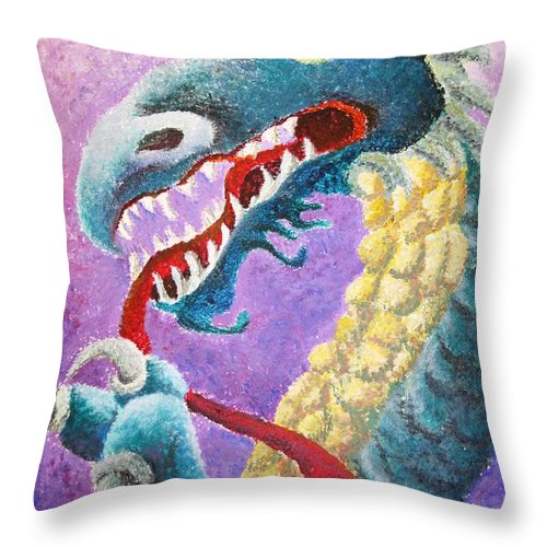 Dragon Throw Pillow featuring the painting Dragon In Dots by Melissa Wiater Chaney