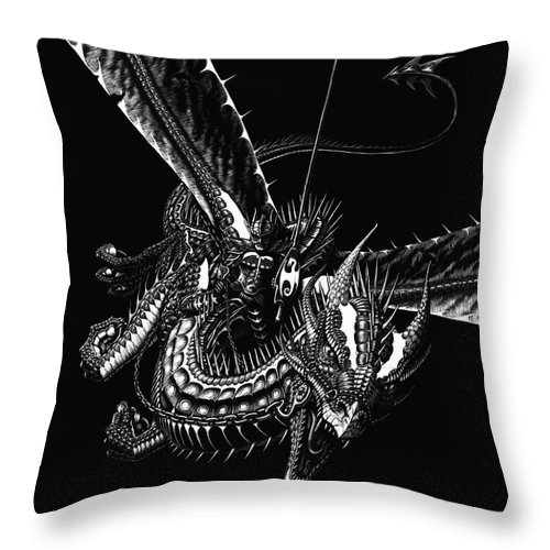 Fantasy Throw Pillow featuring the drawing Dragon Knight by Stanley Morrison