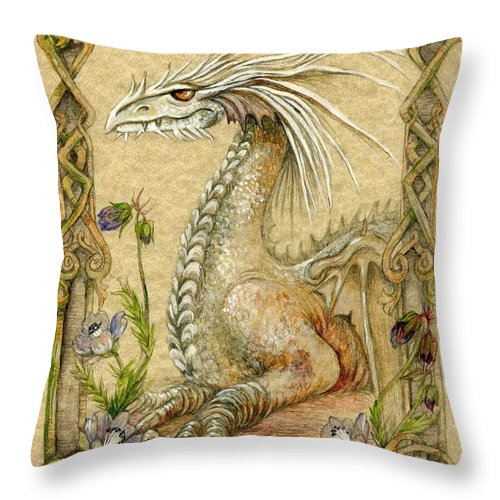 Dragon Throw Pillow featuring the painting Dragon by Morgan Fitzsimons