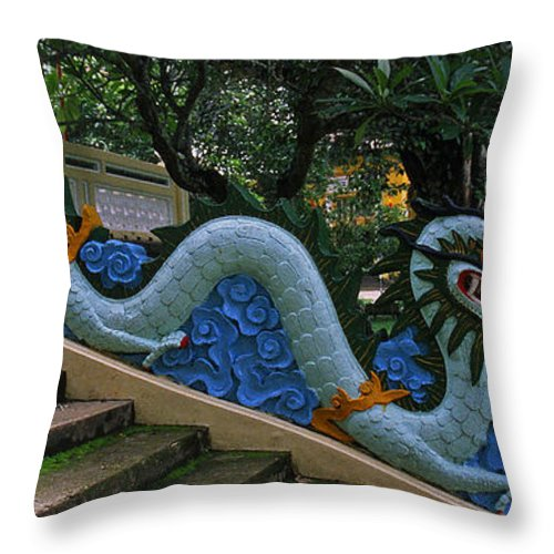 Vietnam Throw Pillow featuring the photograph Bao Tang Temple Railing In Ho Chi Minh City by Rich Walter
