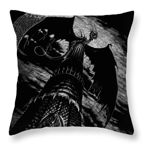 Dragon Throw Pillow featuring the drawing Dragon Tower by Stanley Morrison