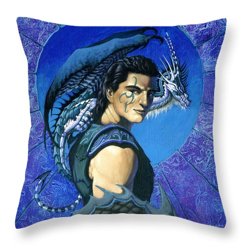 Dragon Throw Pillow featuring the painting Dragoneer by Stanley Morrison