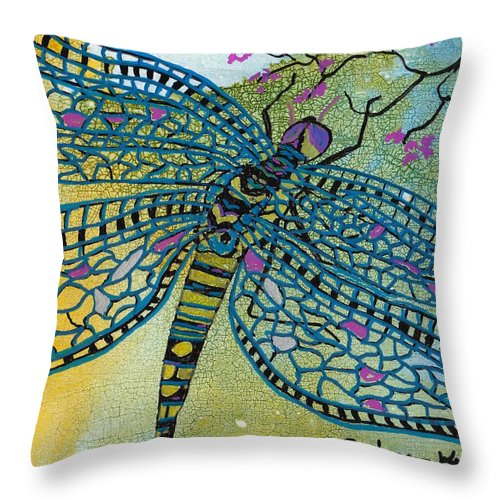 Dragonfly Throw Pillow featuring the mixed media Dragonfly And Cherry Blossoms by Susan Kubes
