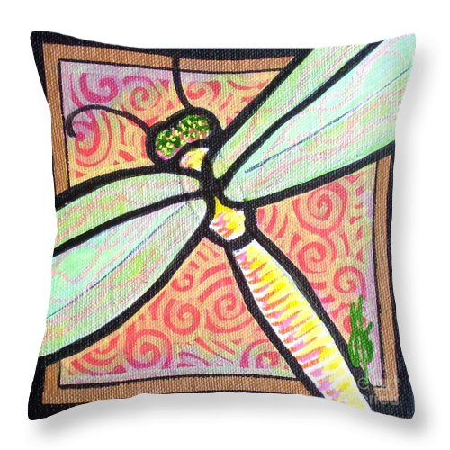 Dragonfly Throw Pillow featuring the painting Dragonfly Fantasy 3 by Jim Harris