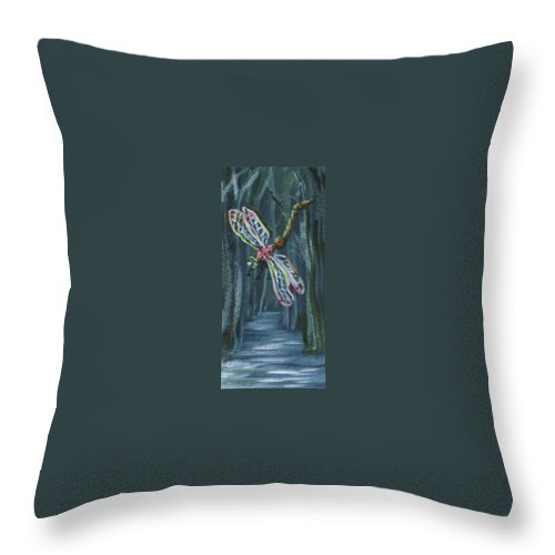 Dragonfly Throw Pillow featuring the painting Dragonfly From River Mural by Dawn Senior-Trask