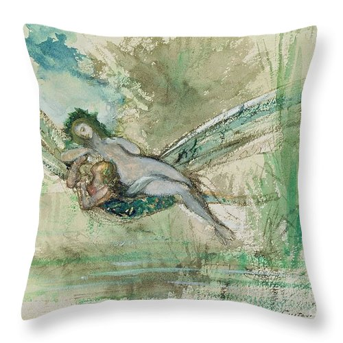Dragonfly Throw Pillow featuring the painting Dragonfly by Gustave Moreau