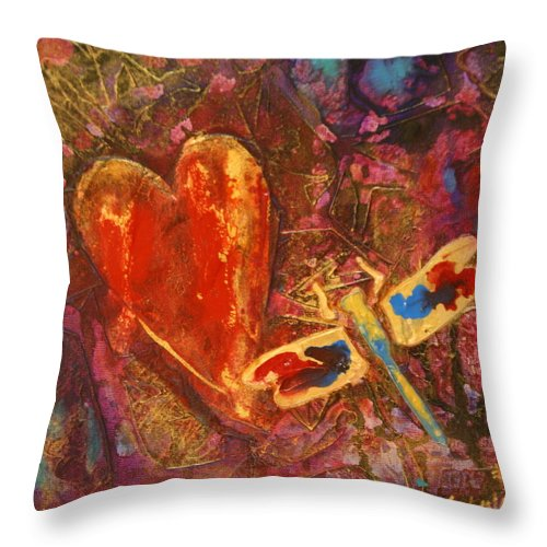 Heart Throw Pillow featuring the painting Dragonfly Heart by Lynn Chatman