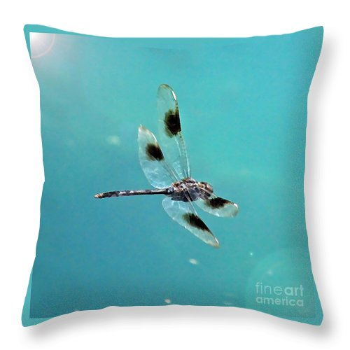 Dragonfly Throw Pillow featuring the photograph Dragonfly In Sunshine - Digital Art by Carol Groenen