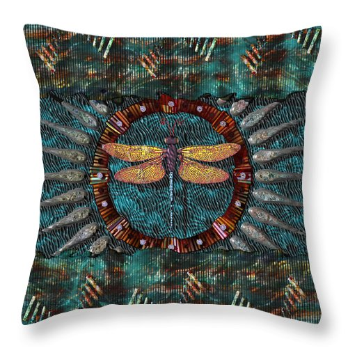 Conceptuals Throw Pillow featuring the digital art Dragonfly Lair by Walter Oliver Neal