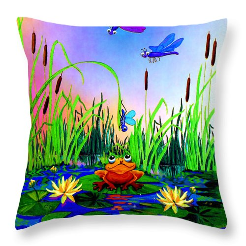 Preschool Wall Mural Throw Pillow featuring the painting Dragonfly Pond by Hanne Lore Koehler