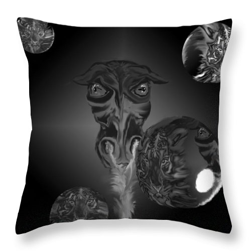 Dragons Tiger Tigers Bubbles Black And White Fantasy Throw Pillow featuring the digital art Dragons And Tigers by Andrea Lawrence