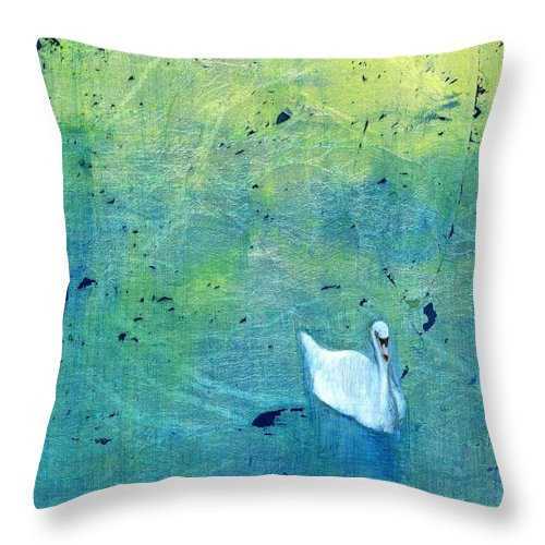 Oil Throw Pillow featuring the painting Drake Park Swan by Patt Nicol