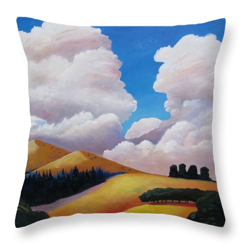 Clouds Throw Pillow featuring the painting Drama by Gary Coleman