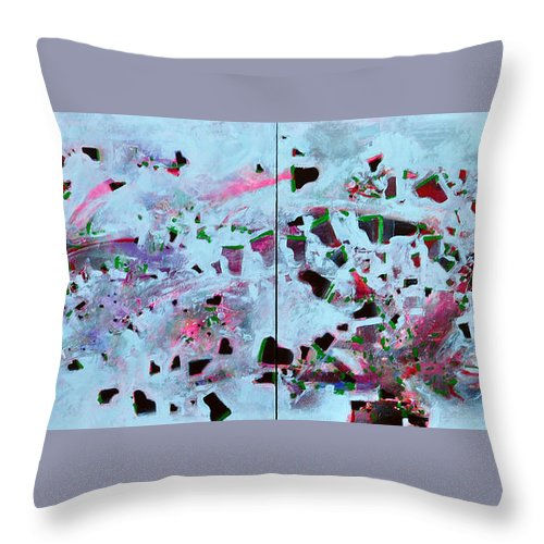 Abstract Throw Pillow featuring the painting Dramatic Grands by Raymond Chow
