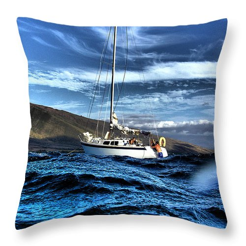 Sailboat Dramatic Waves Maui Water Blue Skies Coquette Dustin Ryan Hdr Ocean Hawaii Throw Pillow featuring the photograph Dramatic Waves by Dustin K Ryan