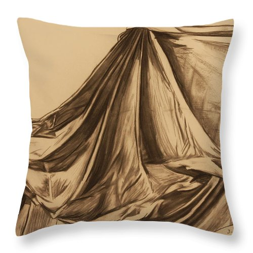 Fabric Throw Pillow featuring the drawing Draped Fabric by Michelle Miron-Rebbe