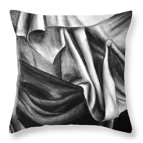 Charcoal Throw Pillow featuring the drawing Drapery Still Life by Nancy Mueller