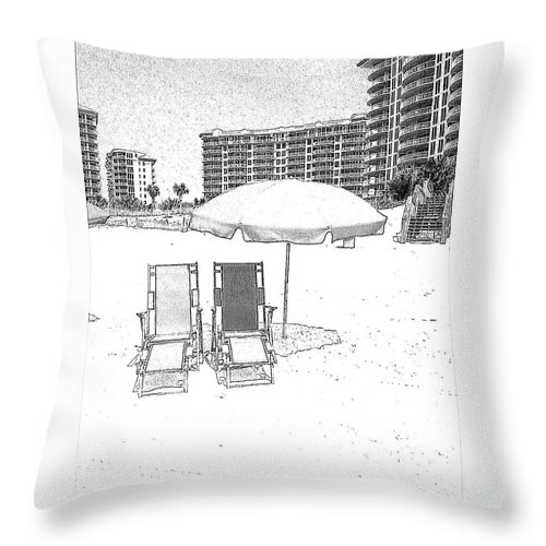 Black And White Throw Pillow featuring the photograph Drawing The Beach Chairs by Michelle Powell