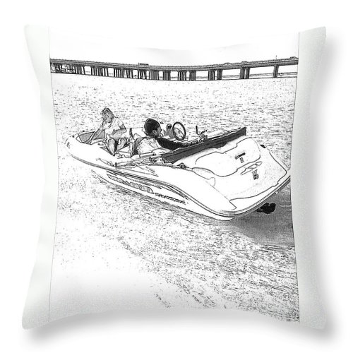 Boat Throw Pillow featuring the photograph Drawing The Boat by Michelle Powell