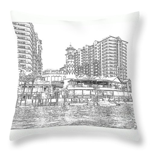 Drawing Throw Pillow featuring the photograph Drawing The Harbor by Michelle Powell