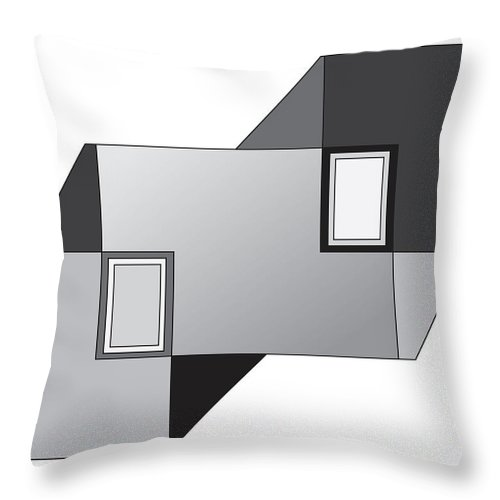Illustration Throw Pillow featuring the drawing Drawn2shapes11bnw by Maggie Mijares