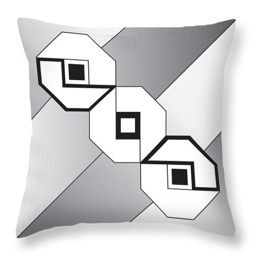 Illustration Throw Pillow featuring the drawing Drawn2shapes4bnw by Maggie Mijares