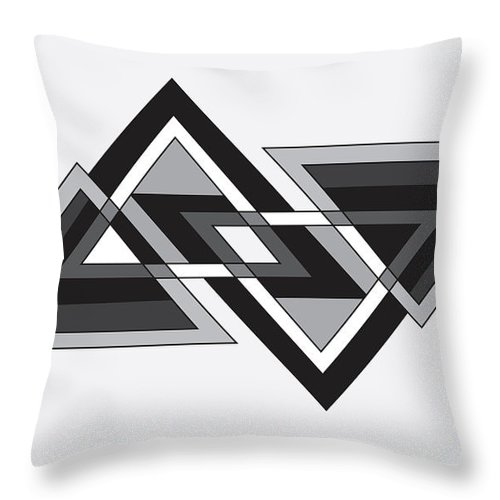 Illustration Throw Pillow featuring the drawing Drawn2shapes6bnw by Maggie Mijares