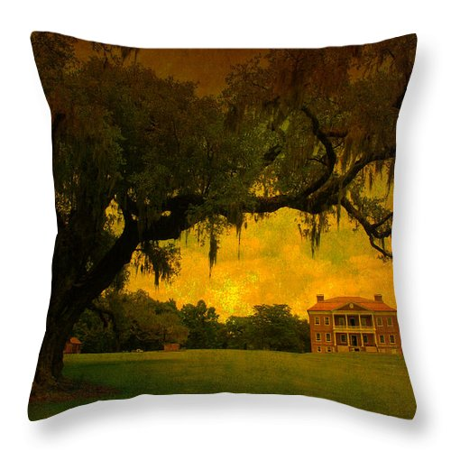 Plantation House Throw Pillow featuring the photograph Drayton Hall Plantation In Charleston by Susanne Van Hulst