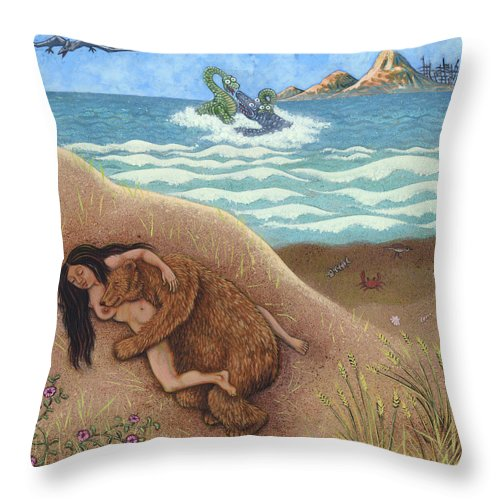 Woman Throw Pillow featuring the painting Dream Of A Time by Holly Wood