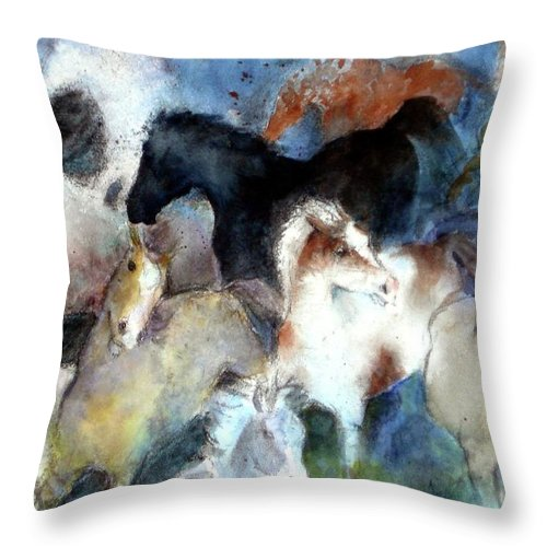 Horses Throw Pillow featuring the painting Dream Of Wild Horses by Christie Martin
