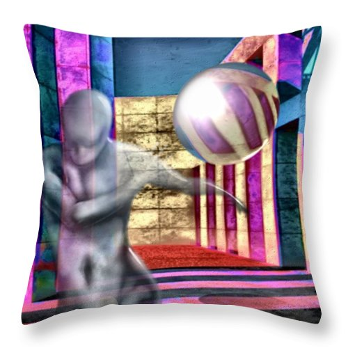Playground Game Ball Colors Throw Pillow featuring the digital art Dream Play by Veronica Jackson