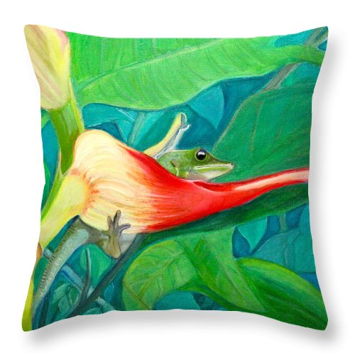 Dream Time Throw Pillow featuring the painting Dream Time-2015 by Novely Fleck