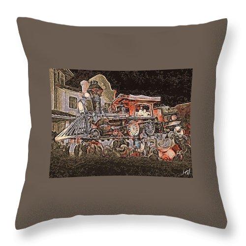 Train Dream Weird Noir Glow Dark Weird Throw Pillow featuring the painting Dream Train by Chad Wagner