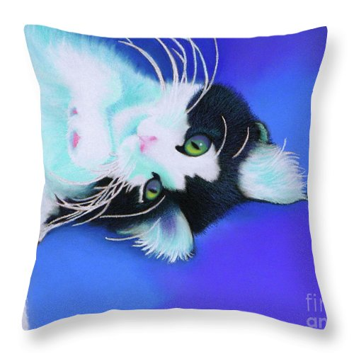 Cat Throw Pillow featuring the pastel Dreamer by Tracy L Teeter