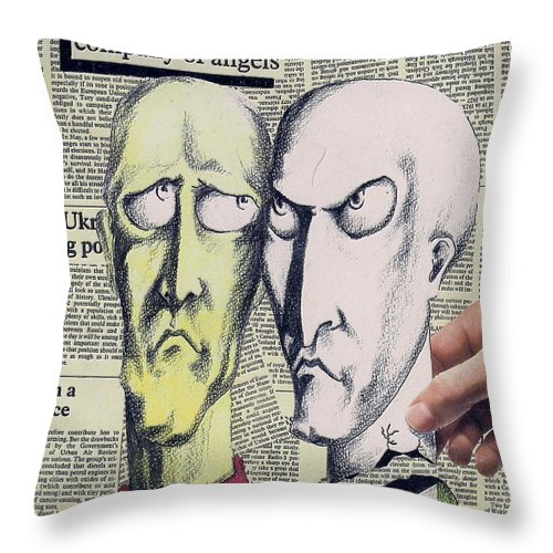 Dreamers Angels Faces Throw Pillow featuring the mixed media Dreamers by Veronica Jackson
