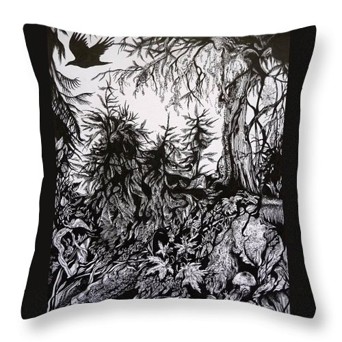 Pen And Ink Throw Pillow featuring the drawing Dreaming Alaska.part One by Anna Duyunova